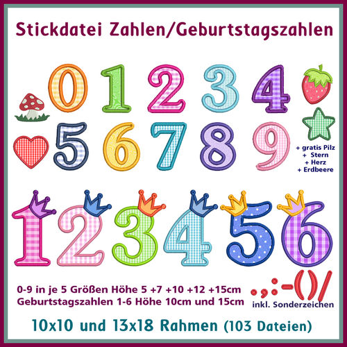 Numbers and birthday numbers embroidery Rock-Queen