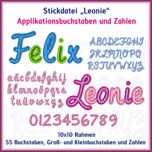 ABC LEONIE applique letter embroidery