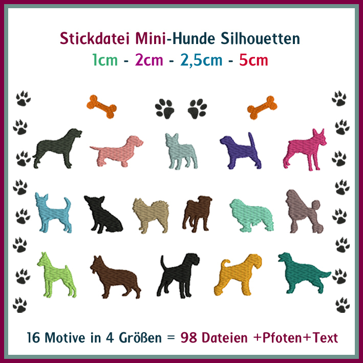 Hunde Mini-Hunde Stickdatei - Rock-Queen Stickdateien