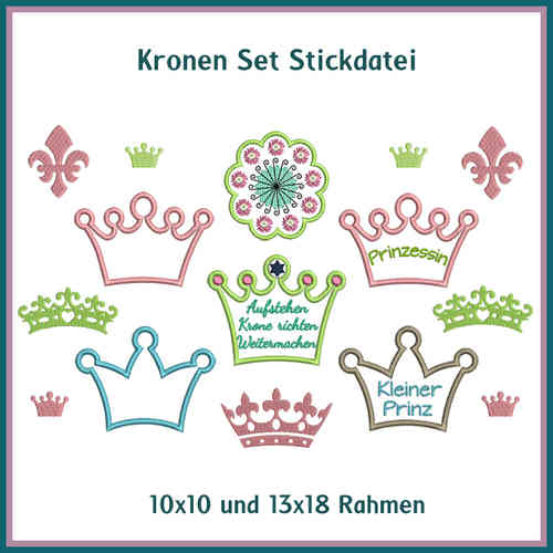 Crown set embroidery