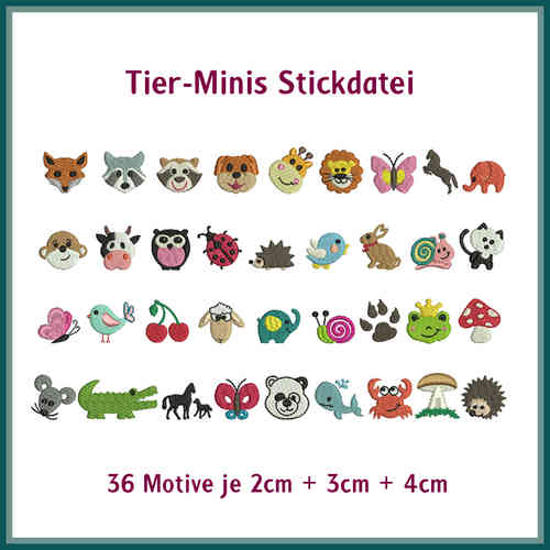 Minis animals embroidery