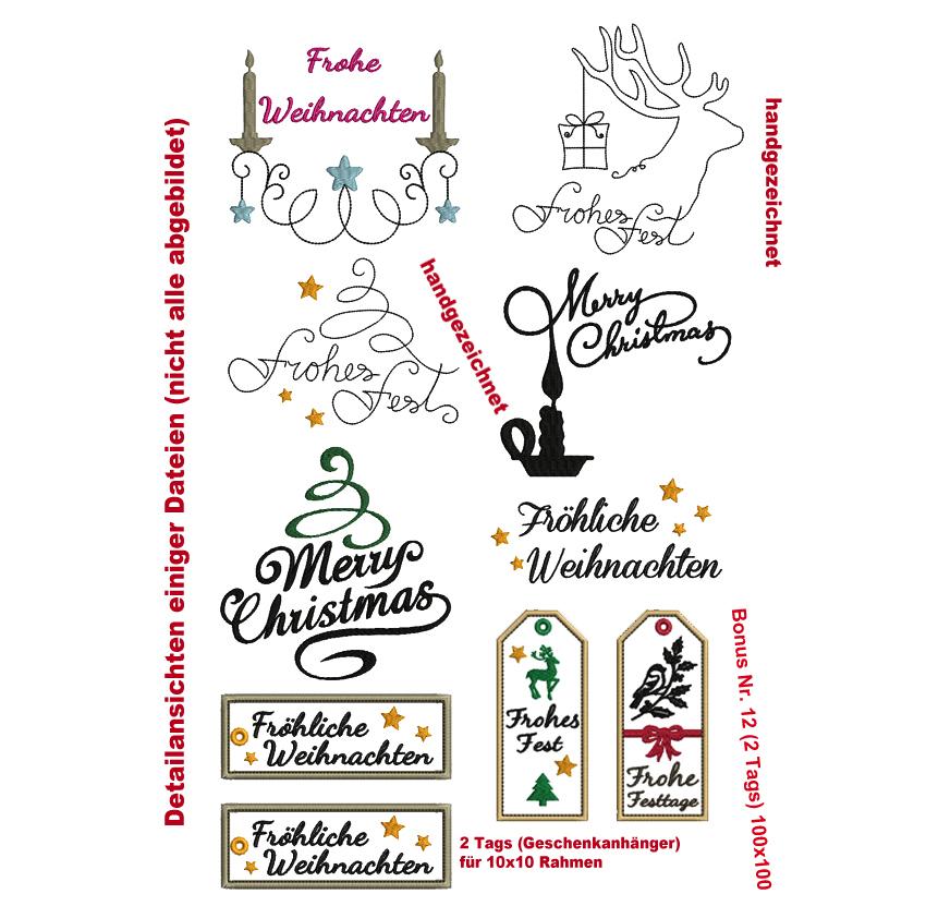 W11 Weihnachts-Schriftzüge Stickdatei - Rock-Queen Stickdateien