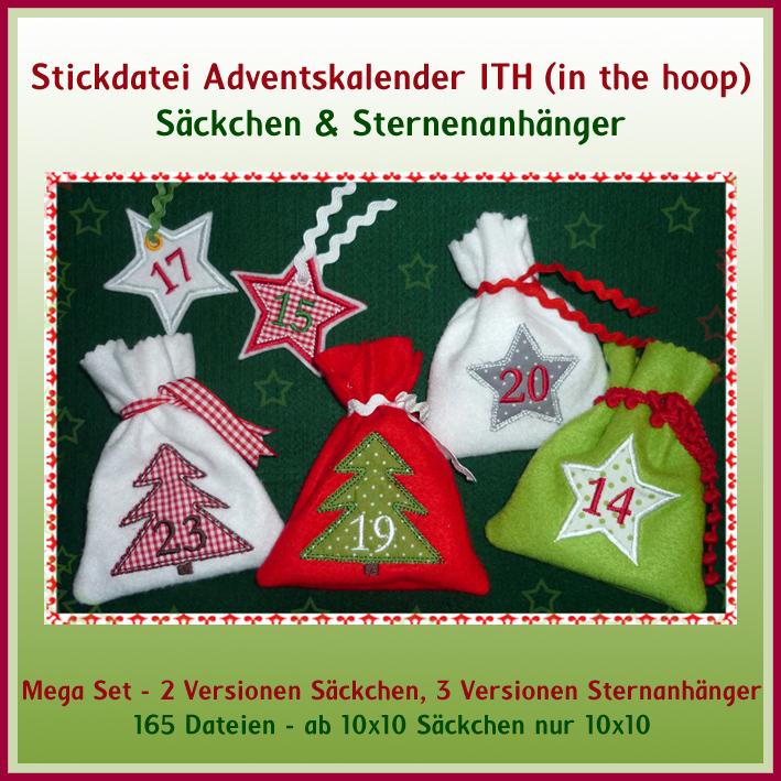 W26 Adventskalender ITH Su00e4ckchen Stickdatei Rock-Queen ...