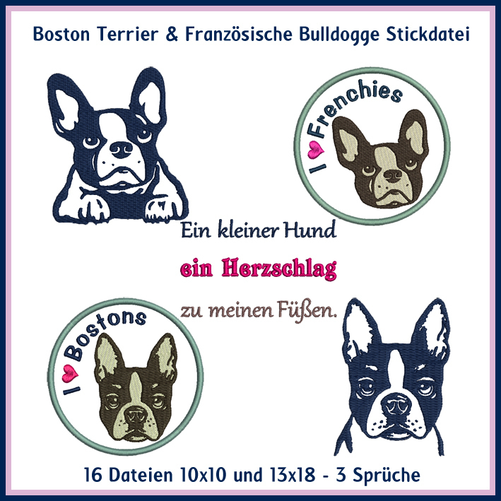 Free Boston Terrier Embroidery Design