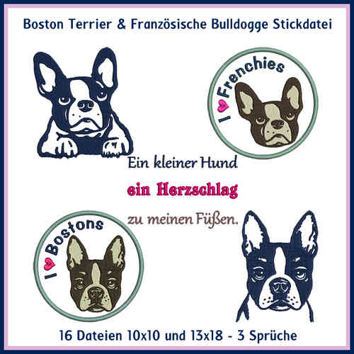 Boston T und Fr Bulldogge Stickdatei