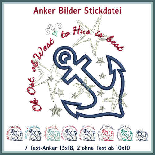 Anker Bild Stickdatei Applikation