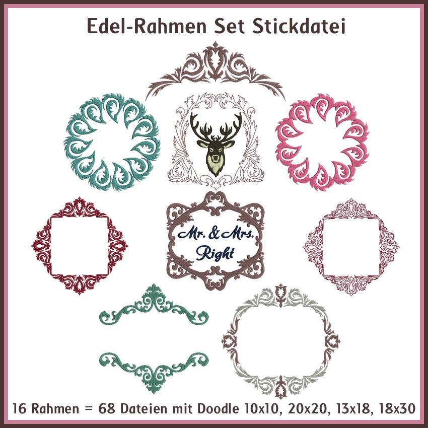 Edel-Rahmen Border Stickdatei Rock Queen