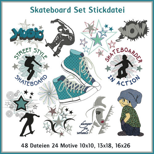 Skateboard set embroidery