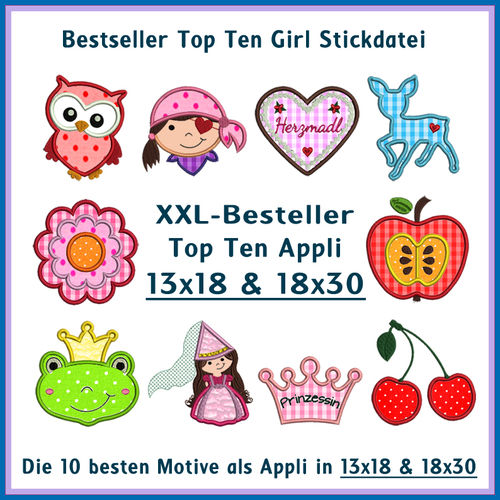 Bestseller Top Ten Girl XXL Stickdateien