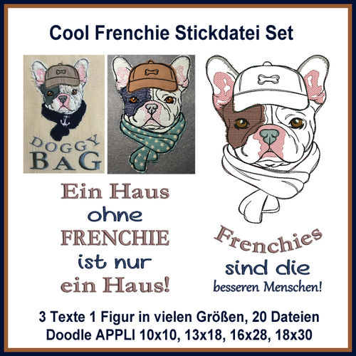 Cool Frenchie Stickdatei Set