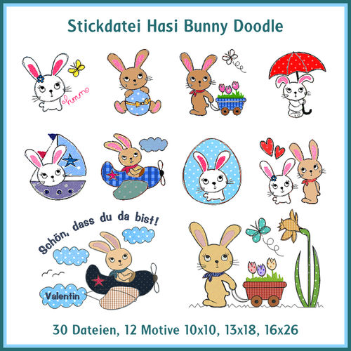 Hasi Bunny linework embroidery