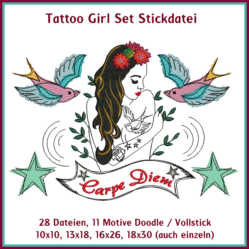 Tattoo Girl Embroidery Set Rock Queen Designs