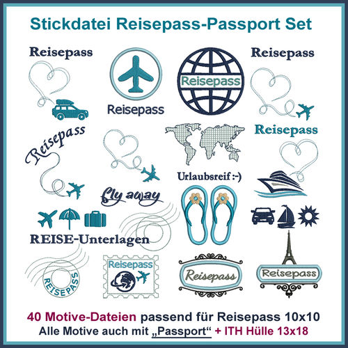 Stickdatei Reisepass-Passport Set