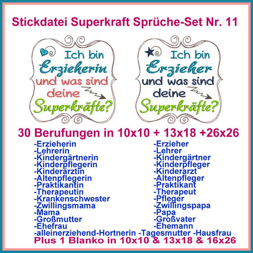 Stickdatei Superkraft Sprüche Set Nr. 11