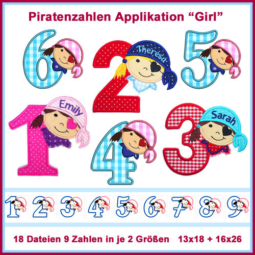 Stickdatei Piratenzahlen 1-9 Girl