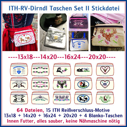ITH in the hoop Dirndl zipper bags no. 2 embroidery file
