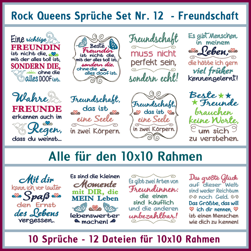 Rock Queens Spruche Set 12 Freundschaft Rock Queen Stickdateien