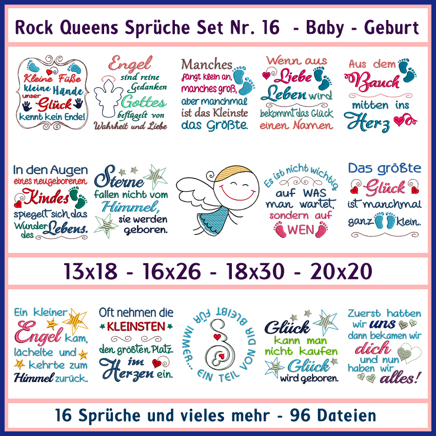 Rock Queens Spruche Set Nr 16 Xxl Baby Geburt Rock Queen Stickdateien