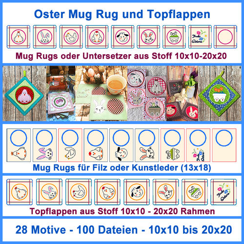 Oster Mug Rug Topflappen ITH Stickdatei