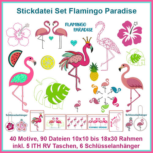 Flamingo Paradise Stickdatei Set