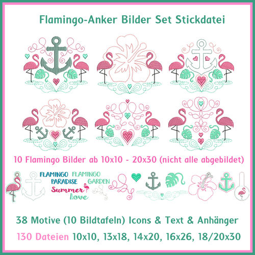 Flamingo Anker Bild DIY Set Stickdatei