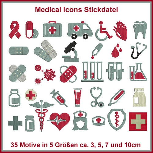 Medical Icons Medizin Stickdatei Set