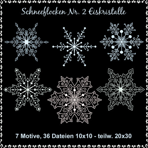 Snowflakes No 2 ice crystals embroidery Set