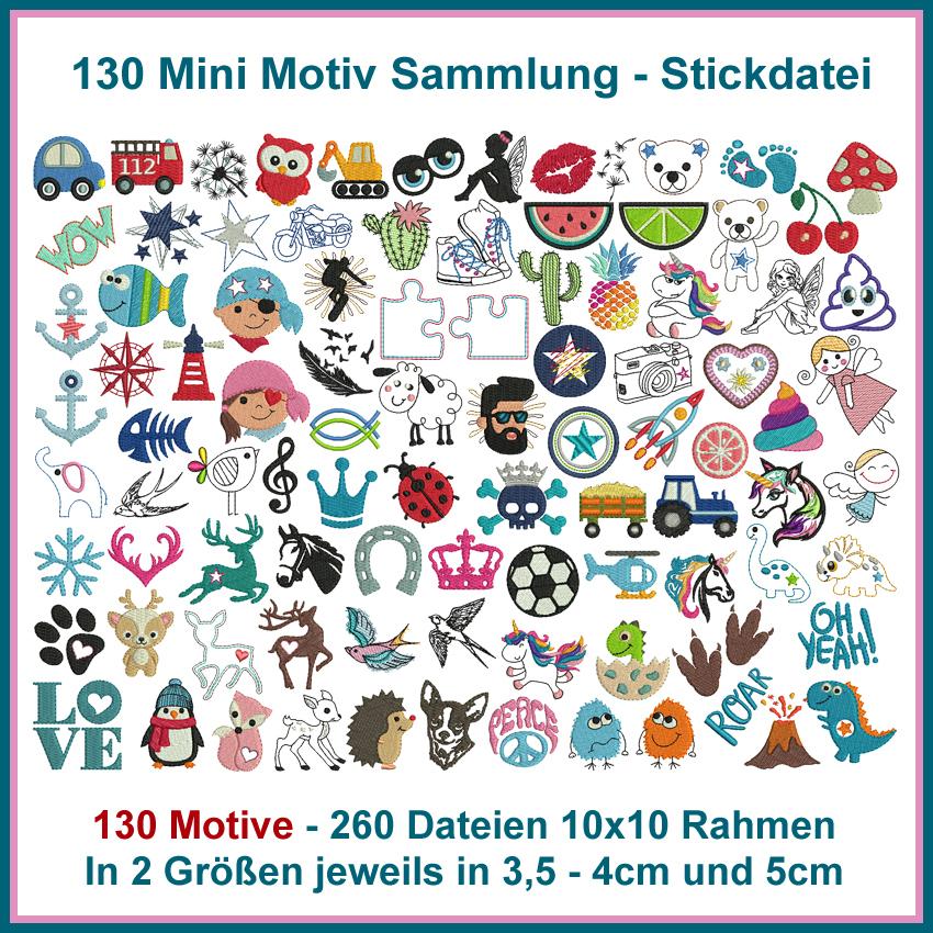 Mini Motiv Sammlung Stickdatei - Rock Queen