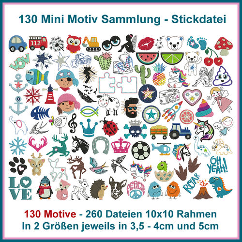 130 Mini motifs collection fichier de broderie