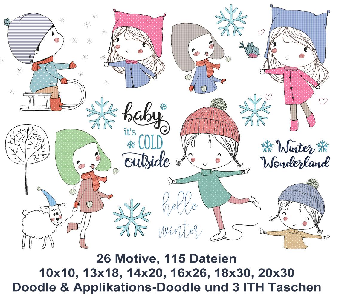 Winter Kids Doodle Stickdateien - Rock Queen