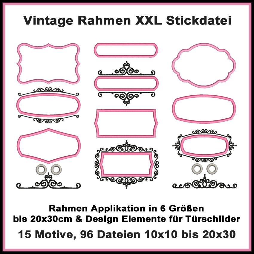 Vintage Rahmen XXL Stickdatei Set - Rock Queen