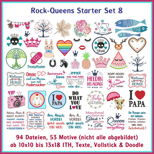 Rock Queens starter set8 embroideries