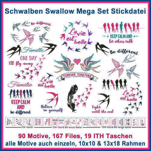Swallows embroidery Mega Set