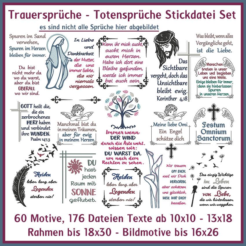 Stickdateien Trauersprüche Grab Totensprüche Giga Sprüche Set Nr 33