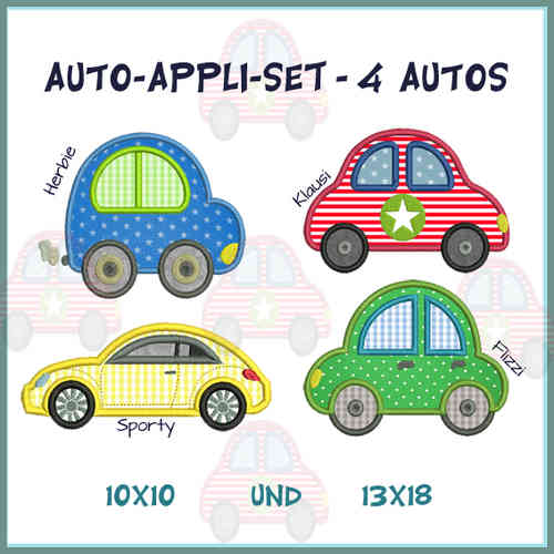 Car set 1-4 embroidery set