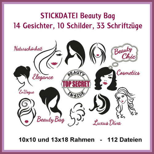 Beauty Bag Schilder Stickdatei
