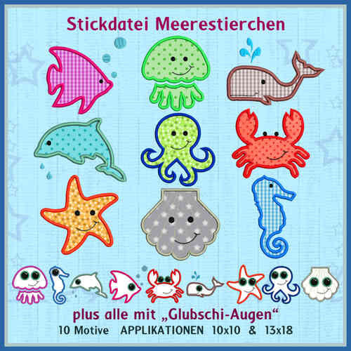 Meerestierchen Set Stickdatei