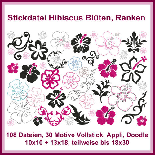 Hibiscus giga set embroidery