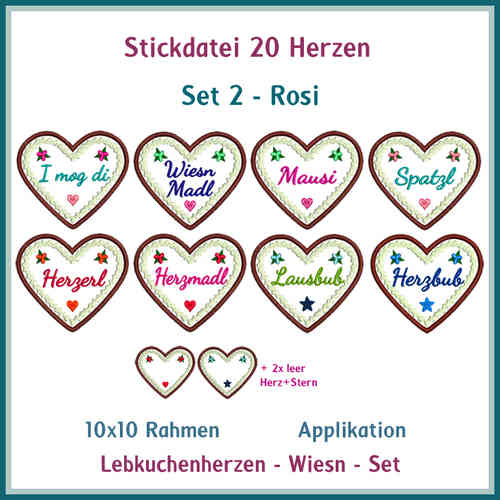 Hearts no. 2 Rosi gingerbread hearts embroidery