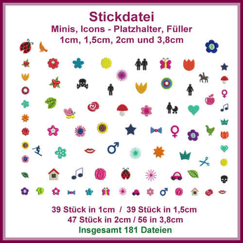 Stickdateien Minis Icons Giga Set Mini Icon