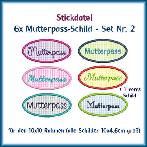 Set-Nr 2 Mutterpass 6x Stickdatei