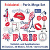 Paris Applikations Set Stickdatei