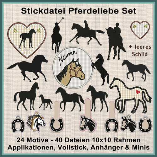 Horses love foal embroidery