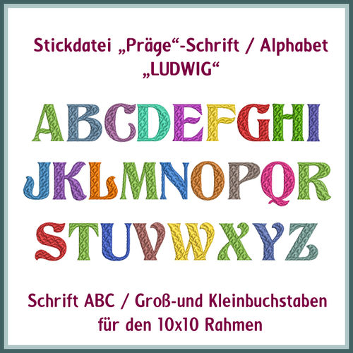 "Letter alphabet ""Ludwig"" embroidery"