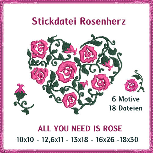 Rose heart rose embroidery
