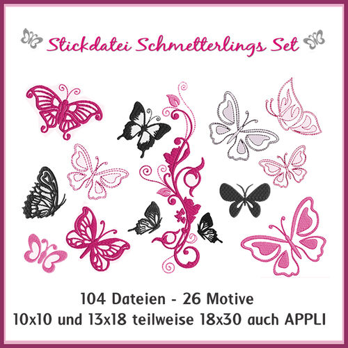 Stickdateien Schmetterlinge Giga Set Butterfly Butterflies embroidery