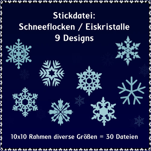Snowflakes ice crystals 01 embroidery