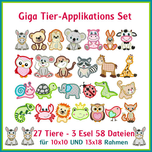 Animal applique giga set embroidery