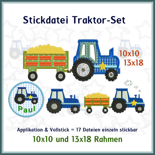 Tractor applique set embroidery