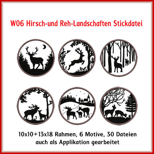 W06 Deer landscapes embroidery files